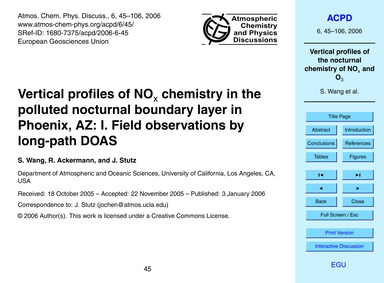 Vertical Profiles of NoX Chemistry in th... by Wang, S.