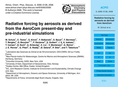 Radiative Forcing by Aerosols as Derived... by Schulz, M.