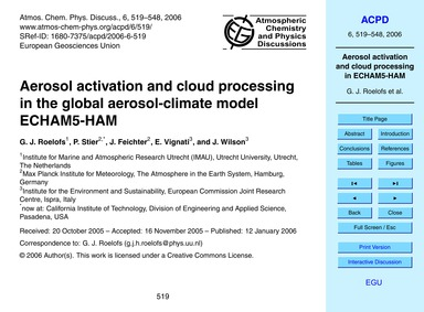 Aerosol Activation and Cloud Processing ... by Roelofs, G. J.