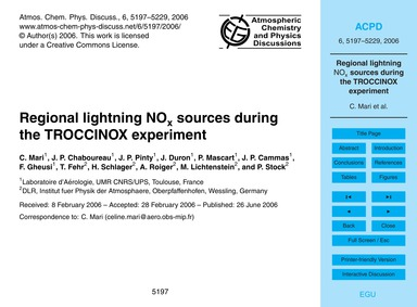 Regional Lightning NoX Sources During th... by Mari, C.