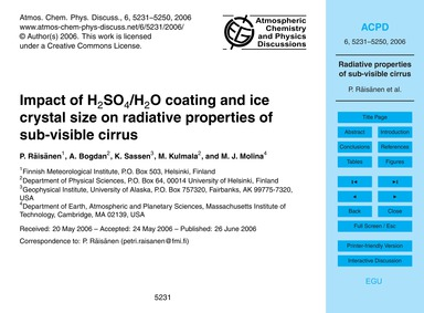 Impact of H2So4/H2O Coating and Ice Crys... by Räisänen, P.