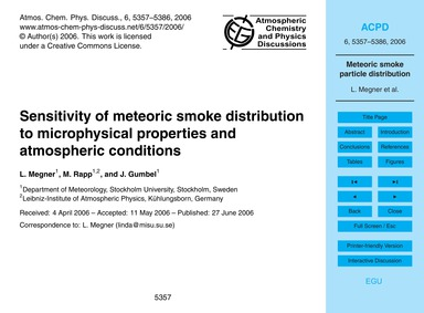 Sensitivity of Meteoric Smoke Distributi... by Megner, L.