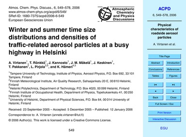 Winter and Summer Time Size Distribution... by Virtanen, A.