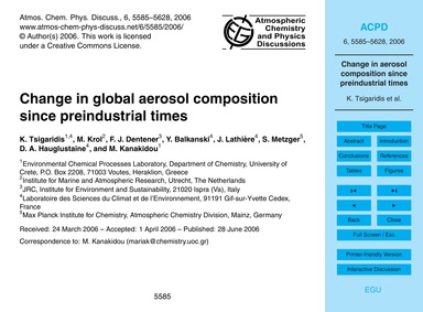 Change in Global Aerosol Composition Sin... by Tsigaridis, K.