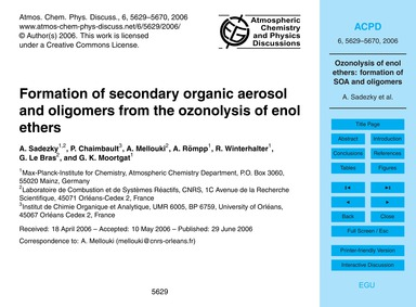 Formation of Secondary Organic Aerosol a... by Sadezky, A.
