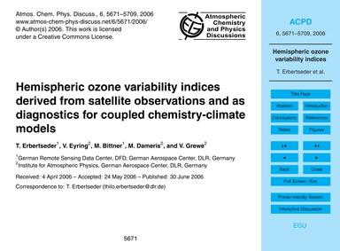 Hemispheric Ozone Variability Indices De... by Erbertseder, T.