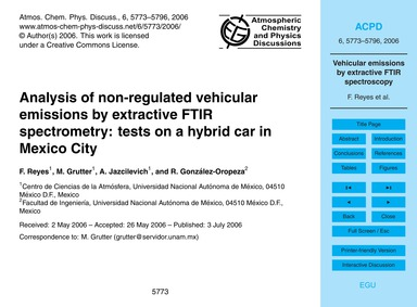 Analysis of Non-regulated Vehicular Emis... by Reyes, F.