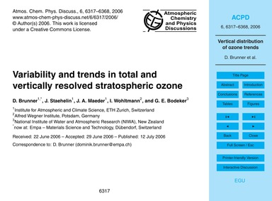 Variability and Trends in Total and Vert... by Brunner, D.