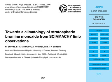 Towards a Climatology of Stratospheric B... by Sheode, N.