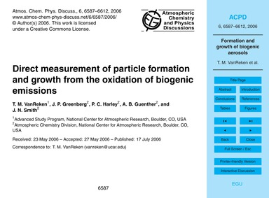 Direct Measurement of Particle Formation... by Vanreken, T. M.