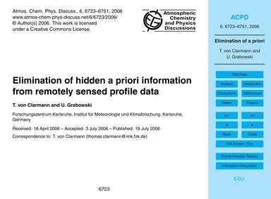 Elimination of Hidden a Priori Informati... by Von Clarmann, T.