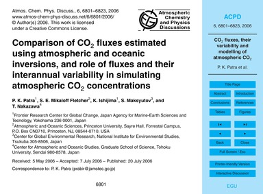 Comparison of Co2 Fluxes Estimated Using... by Patra, P. K.