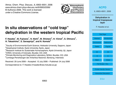 "In Situ Observations of ""cold Trap Dehyd... by Hasebe, F."