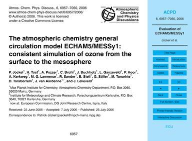 The Atmospheric Chemistry General Circul... by Jöckel, P.