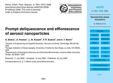 Prompt Deliquescence and Efflorescence o... by Biskos, G.