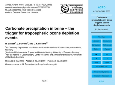 Carbonate Precipitation in Brine – the T... by Sander, R.