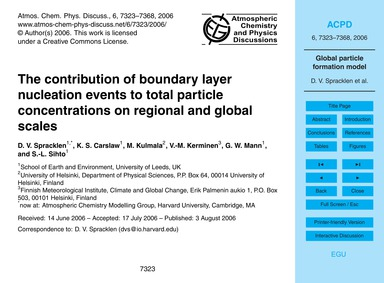 The Contribution of Boundary Layer Nucle... by Spracklen, D. V.