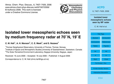 Isolated Lower Mesospheric Echoes Seen b... by Hall, C. M.