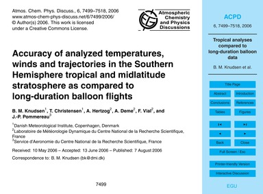 Accuracy of Analyzed Temperatures, Winds... by Knudsen, B. M.