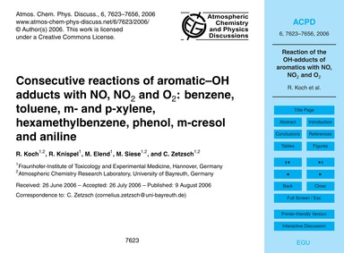 Consecutive Reactions of Aromatic–oh Add... by Koch, R.