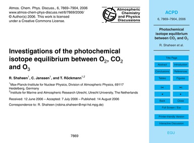 Investigations of the Photochemical Isot... by Shaheen, R.
