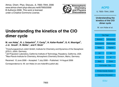 Understanding the Kinetics of the Clo Di... by Von Hobe, M.