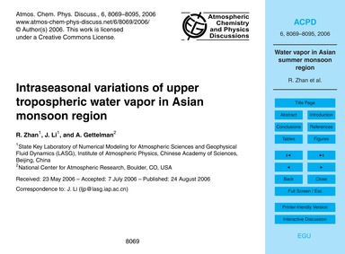 Intraseasonal Variations of Upper Tropos... by Zhan, R.