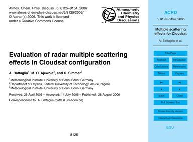 Evaluation of Radar Multiple Scattering ... by Battaglia, A.