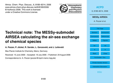 Technical Note: the Messy-submodel Airse... by Pozzer, A.