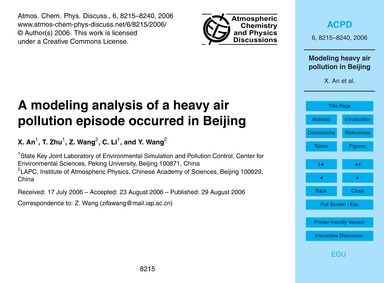 A Modeling Analysis of a Heavy Air Pollu... by An, X.