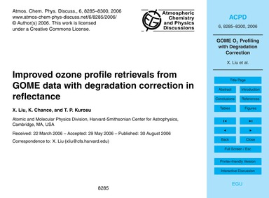 Improved Ozone Profile Retrievals from G... by Liu, X.