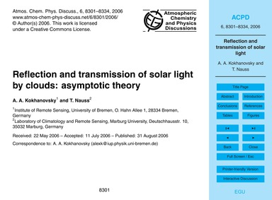 Reflection and Transmission of Solar Lig... by Kokhanovsky, A. A.