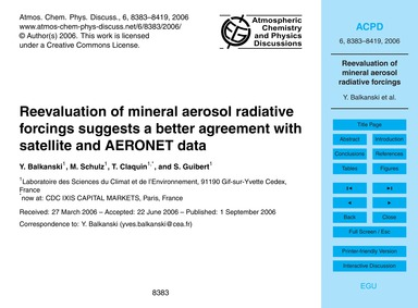 Reevaluation of Mineral Aerosol Radiativ... by Balkanski, Y.