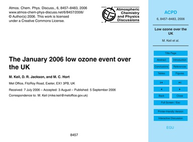 The January 2006 Low Ozone Event Over th... by Keil, M.