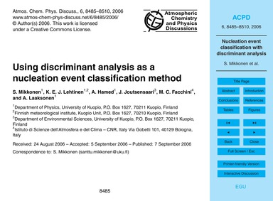 Using Discriminant Analysis as a Nucleat... by Mikkonen, S.