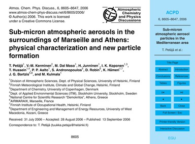 Sub-micron Atmospheric Aerosols in the S... by Petäjä, T.