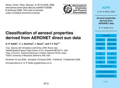 Classification of Aerosol Properties Der... by Gobbi, G. P.