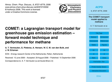 Comet: a Lagrangian Transport Model for ... by Vermeulen, A. T.