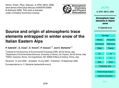 Source and Origin of Atmospheric Trace E... by Gabrielli, P.