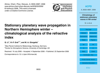Stationary Planetary Wave Propagation in... by Li, Q.