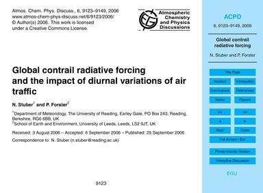 Global Contrail Radiative Forcing and th... by Stuber, N.