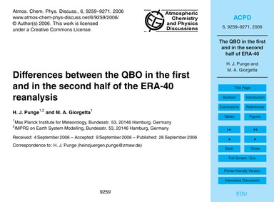 Differences Between the Qbo in the First... by Punge, H. J.