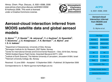 Aerosol-cloud Interaction Inferred from ... by Myhre, G.