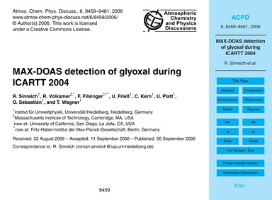 Max-doas Detection of Glyoxal During Ica... by Sinreich, R.