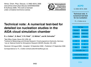 Technical Note: a Numerical Test-bed for... by Cotton, R. J.