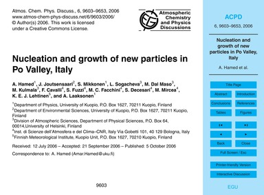 Nucleation and Growth of New Particles i... by Hamed, A.