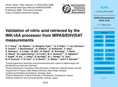 Validation of Nitric Acid Retrieved by t... by Wang, D. Y.