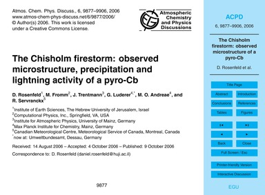 The Chisholm Firestorm: Observed Microst... by Rosenfeld, D.