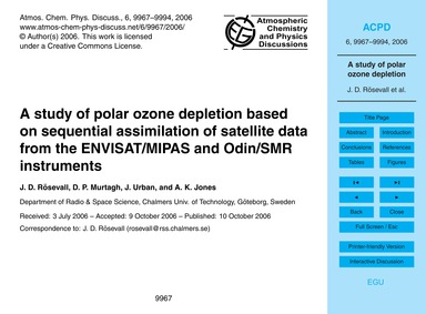 A Study of Polar Ozone Depletion Based o... by Rösevall, J. D.
