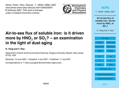 Air-to-sea Flux of Soluble Iron: is it D... by Yang, H.